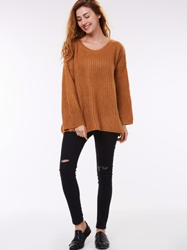 Stylish Pure Color Loose Sweater