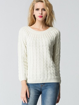 Stylish Pure Color Round Neck Sweater