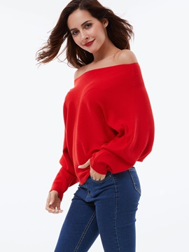 Stylish Pleated Slash Neck Sweater