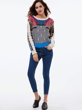 Stylish Colorful Printed Loose Sweater