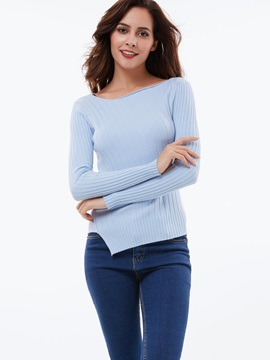 Stylish Irregular Hem Slim Sweater