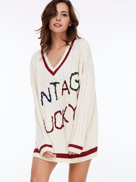 Stylish Letter Print V-Neck Sweater