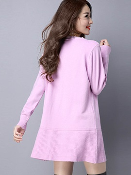 Stylish Pure Color Mid-Length Sweater