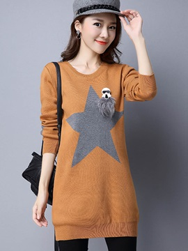 Stylish Star Printed Pullover Sweater