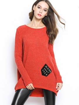 Stylish Letter Printed Pockets Loose Sweater