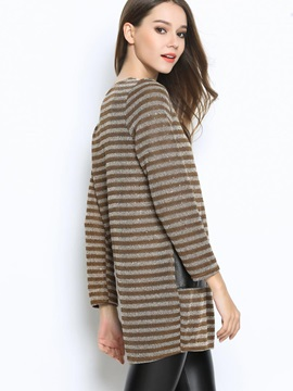 Stylish Color Block Pockets Pullover Sweater