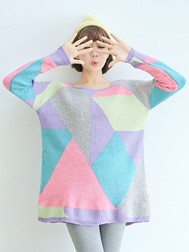 Stylish Loose Color Block Standard Sweater