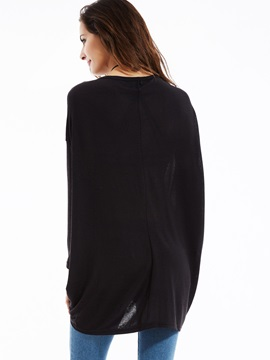 Stylish Loose Plain V-Neck Pleated Sweater