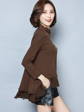 Stylish Solid Color Patchwork Sweater