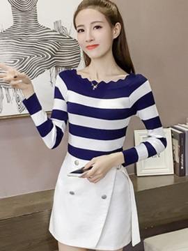 Slim Color Block Stripe Sweater