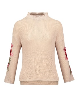 Thin Drop-Shoulder Floral Embroideried Sweater