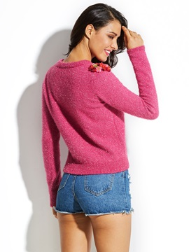 Round Neck Knitwear Applique Women's Sweater