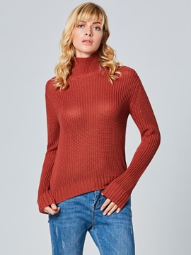 Long Sleeve Plain Regular Turtleneck Women's Sweater