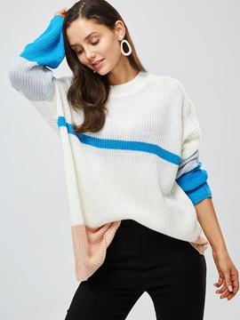 Color Block Loose Mid-Length Women's Sweater