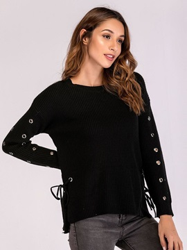 Hollow Round Neck Plain Women's Sweater
