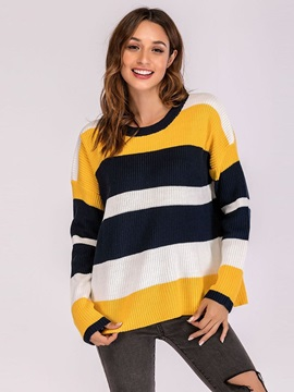 Striped Round Neck Loose Women's Sweater