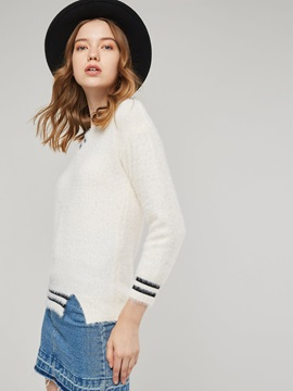 Stripe Contrast Color Split Hem Women's Sweater