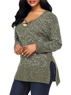 Criss Cross Front V Neck Long Women's Sweater