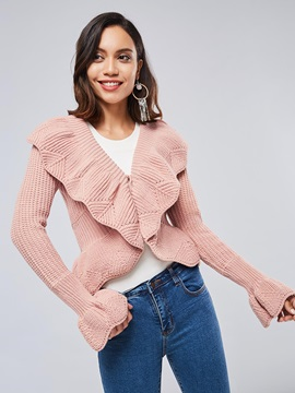Flare Sleeve Ruffle Collar Short Women's Sweater Coat