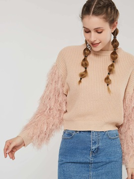 Tassel Long Sleeve Round Neck Loose Women's Sweater