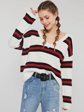 Color Block V Neck Striped Loose Women's Sweater