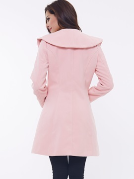 Ruffled Collar Exquisite Synthetic Wool Women's Overcoat