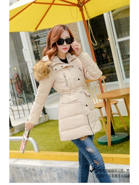 Stylish Hooded Flap Pockets Thicken Overcoat
