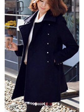 Dark Blue Lapel Double-Breasted Overcoat