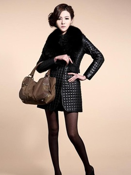Black Long Sleeve PU Patchwork Overcoat