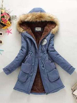 Hooded New Style Long Sleeves Style Thick Overcoat