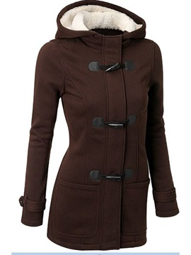 Splendid Horn Button Hooded Slim Overcoat