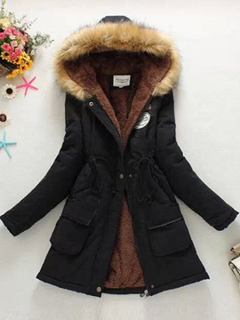 Fur Collar Hooded Parka Women's Overcoat