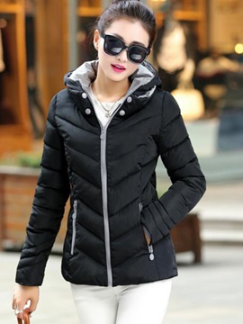 Stylish Stand Collar Short Cotton Overcoat