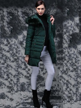 Stylish Zipper Decoration Warm Overcoat