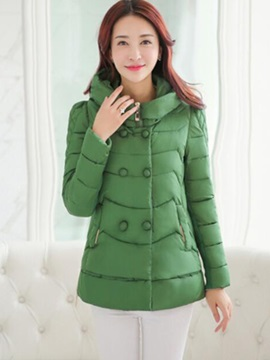 Chic Button Hooded Warm Overcoat