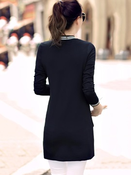 Casual baseball jersey Mid-Length Slim Overcoat