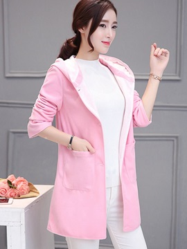 Sweet Candy Color Hooded Overcoat