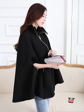 Stylish Solid Color Asymmetric Inclined Zipper Loose Overcoat