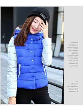 Stylish Color Block Hooded Cotton Clothes