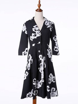 Sylish Flower Print Long Sleeve Overcoat