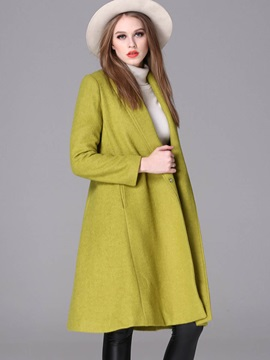 Simple Solid Color Mid-Length Overcoat