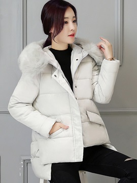 Stylish Hidden Button Thick Cotton Overcoat