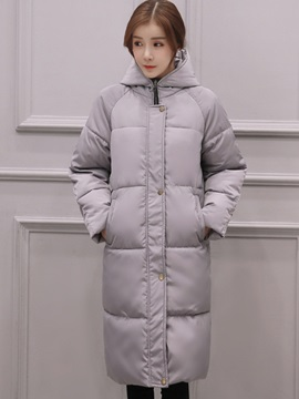 Stylish Pure Color Mid -Length Thick Cotton Overcoat