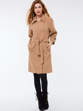 Stylish Belt Lapel Overcoat