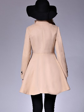 Stylish Double-Breasted Peplum Overcoat