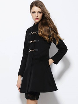 Stylish Button Mid-Length Overcoat