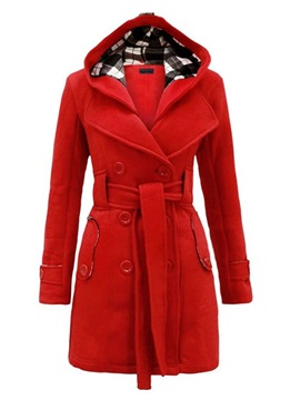 Stylish Belt Hooded Overcoat