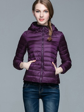 Stylish Pure Color Hooded Cotton Overcoat