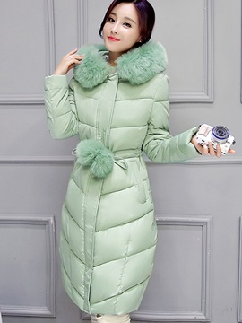 Chic Faux Fur Collar Slim Cotton Overcoat
