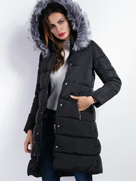 Simple Faux Fur Collar Slim Cotton Overcoat